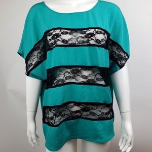 Torrid Green and Black Lace Stripe Shirt, Size 4X